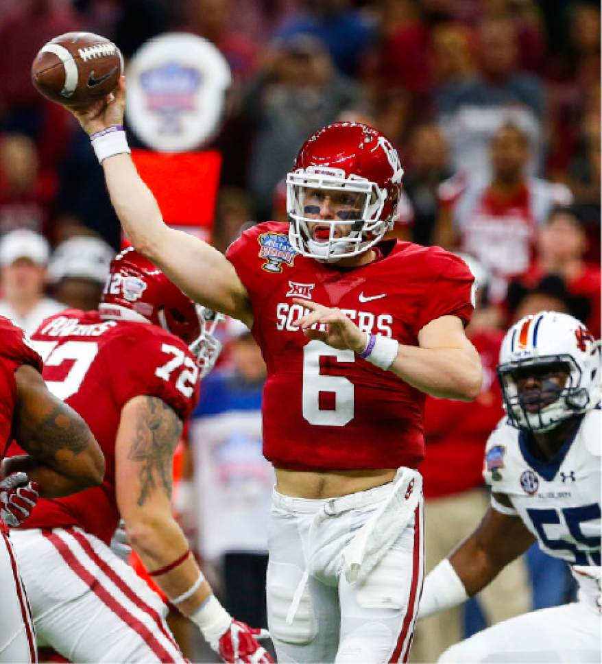 Oklahoma quarterback Baker Mayfield (6) throws a pass during the first half of the Sugar Bowl NCAA college football game against Auburn, Monday, Jan. 2, 2017, in New Orleans. (AP Photo/Butch Dill)