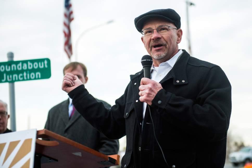 Chris Detrick  |  The Salt Lake Tribune Jeff Silvestrini speaks near the new roundabout at 2765 S. 2300 East Tuesday December 20, 2016.