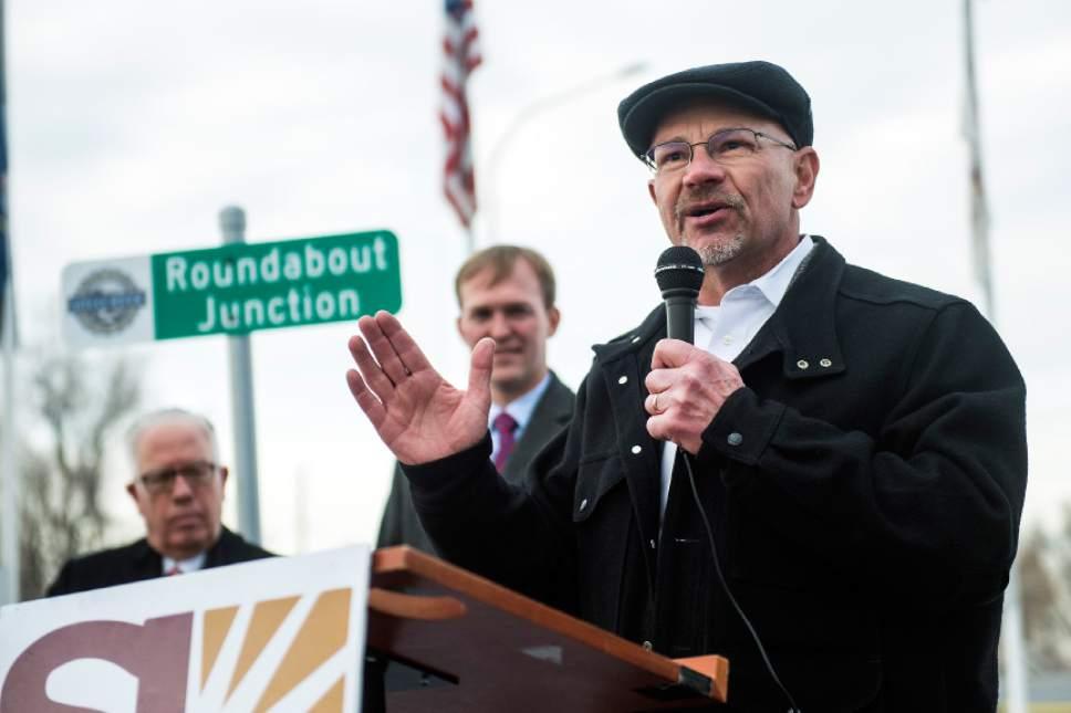 Chris Detrick  |  The Salt Lake Tribune Jeff Silvestrini speaks near the new roundabout at 2765 S. 2300 East on Tuesday.