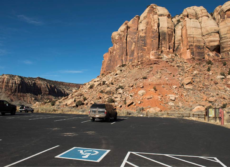 Rick Egan  |  The Salt Lake Tribune  Parking lot for climbers at Indian Creek, Friday, December 30, 2016.