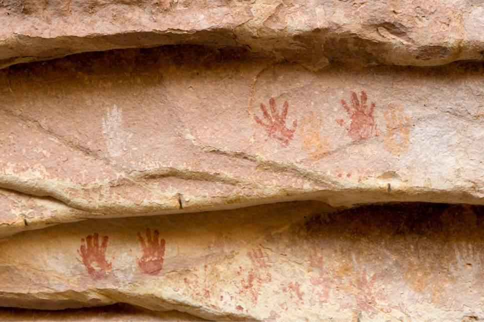 Rick Egan  |  The Salt Lake Tribune  Painted handprints on a wall in the Bears Ears National Monument, near Bluff, Utah, on Thursday, December 29, 2016.