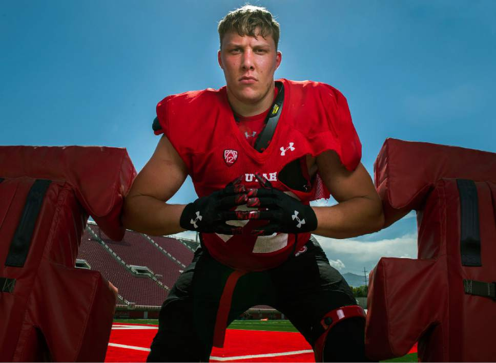 Leah Hogsten  |  The Salt Lake Tribune At 6-foot-5, 300-plus, University of Utah's newest lineman, Garett Bolles will be a formidable force this football season for the Utes.