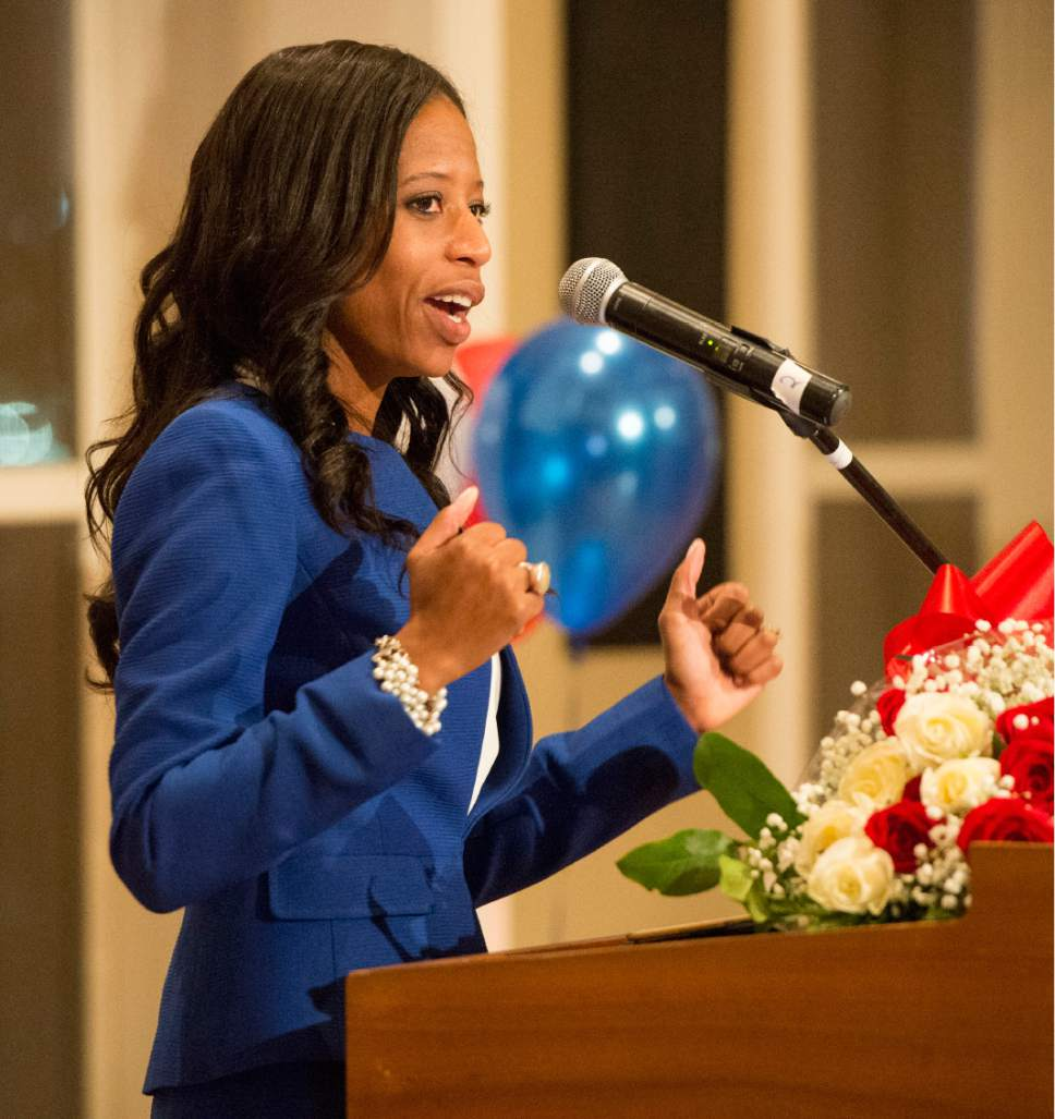 Rick Egan     Tribune file photo  Rep. Mia Love gives a speech at 1:15 a.m. at  Noah's, in South Jordan, in the wee hours following the Nov. 8, 2016, election.