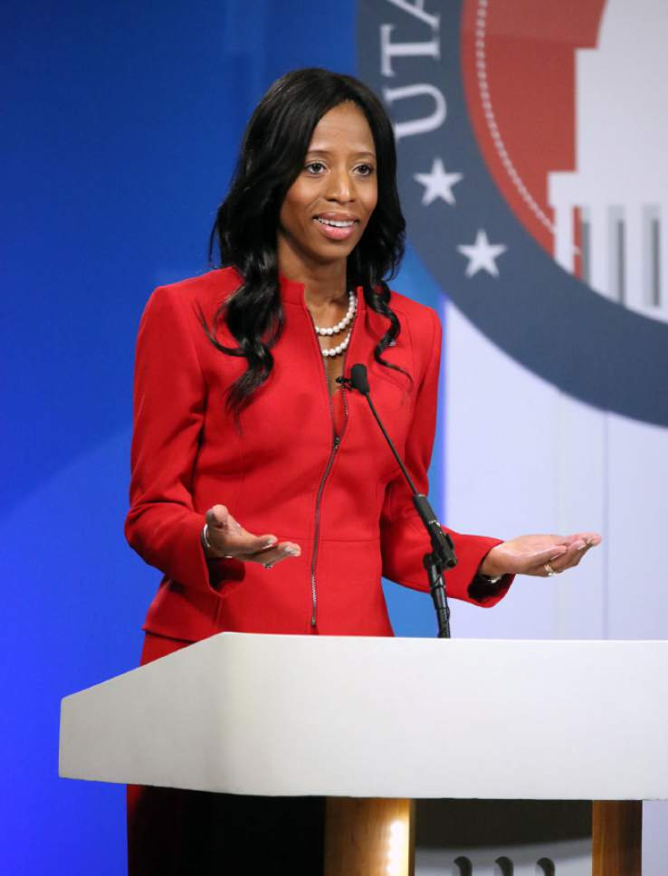 Kirstin Murphy     Pool photo  Mia Love, R-Utah, participates in the 4th Congressional District debate with Democratic challenger Doug Owens at Salt Lake Community College's Karen Gail Miller Conference Center in Sandy on Monday, Oct. 10, 2016.