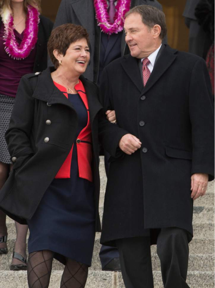 Leah Hogsten  |  The Salt Lake Tribune Gov. Gary Herbert and First Lady of Utah, Jeanette Herbert share a laugh as they leave the Utah Capitol at the conclusion of the 2017 State Inaugural Ceremony, January 4, 2017.