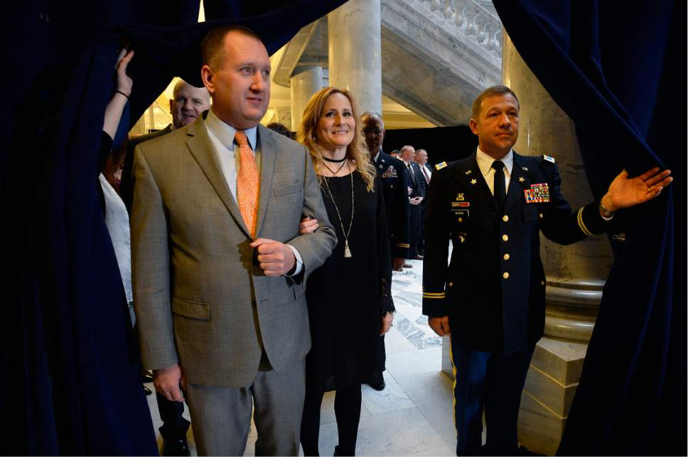 Scott Sommerdorf   |  The Salt Lake Tribune   Utah Auditor John Dougall and his wife Sandy wait for their turn to join the procession at the State of Utah's Inaugural Ceremony in the Capitol rotunda, Wednesday, January 4, 2017.