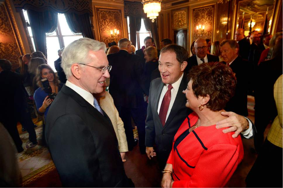 Scott Sommerdorf   |  The Salt Lake Tribune   Utah Governor Gary R. Herbert and his wife Jeanette, right, speak with Elder D. Todd Christofferson, a member of the Quorum of the Twelve Apostles during a gathering in the Gold Room prior to the State of Utah's Inaugural Ceremony, Wednesday, January 4, 2017.