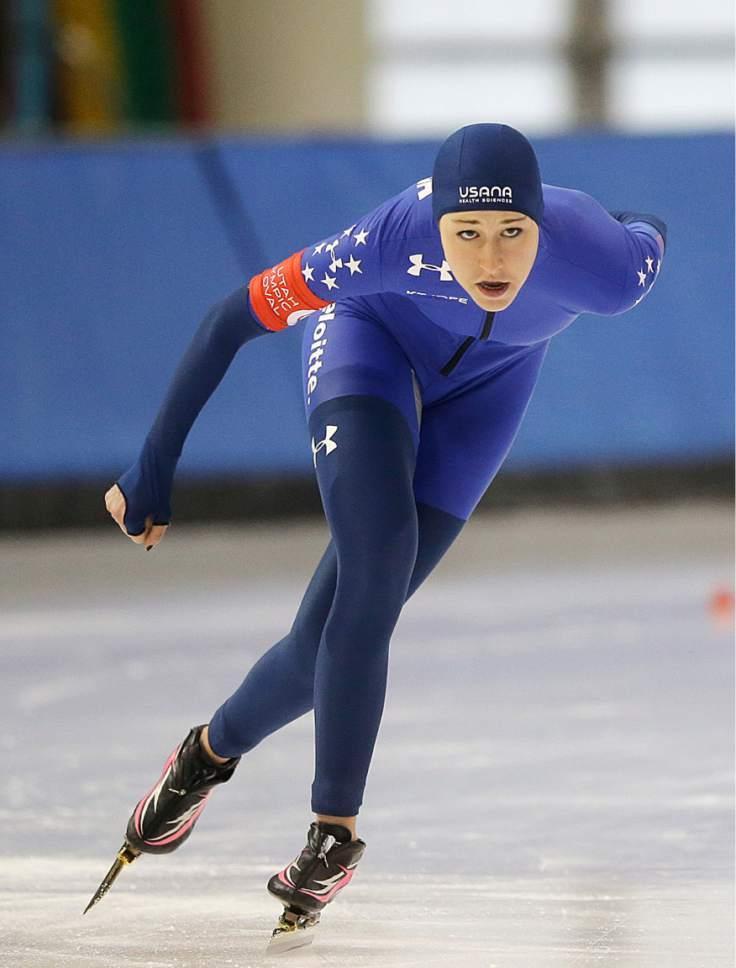 Petra Acker competes in the women's 1,500 meters U.S. long track speedskating championship at Utah Olympic Oval, Saturday, Jan. 7, 2017, in Kearns, Utah. (AP Photo/Rick Bowmer)