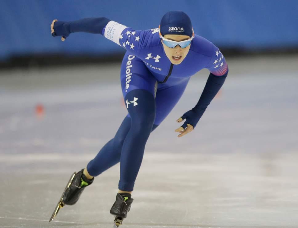 Paige Schwartzburg competes in the women's 1,500 meters U.S. long track speedskating championship at Utah Olympic Oval, Saturday, Jan. 7, 2017, in Kearns, Utah. (AP Photo/Rick Bowmer)
