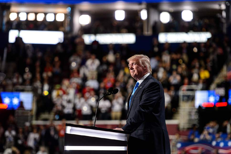 Trent Nelson     The Salt Lake Tribune Donald Trump takes the stage to introduce his wife Melania Trump at the 2016 Republican National Convention in Cleveland, OH, Monday July 18, 2016.