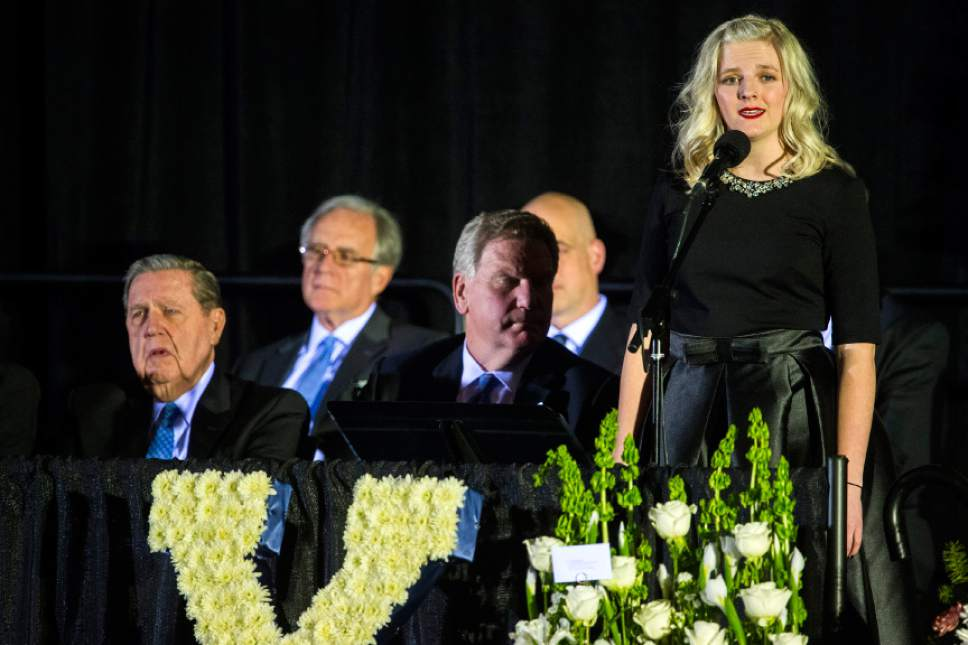 Chris Detrick  |  The Salt Lake Tribune Jayne Edwards sings 'Amazing Grace' during the public service for LaVell Edwards at Utah County Convention Center in Provo Friday January 6, 2017.