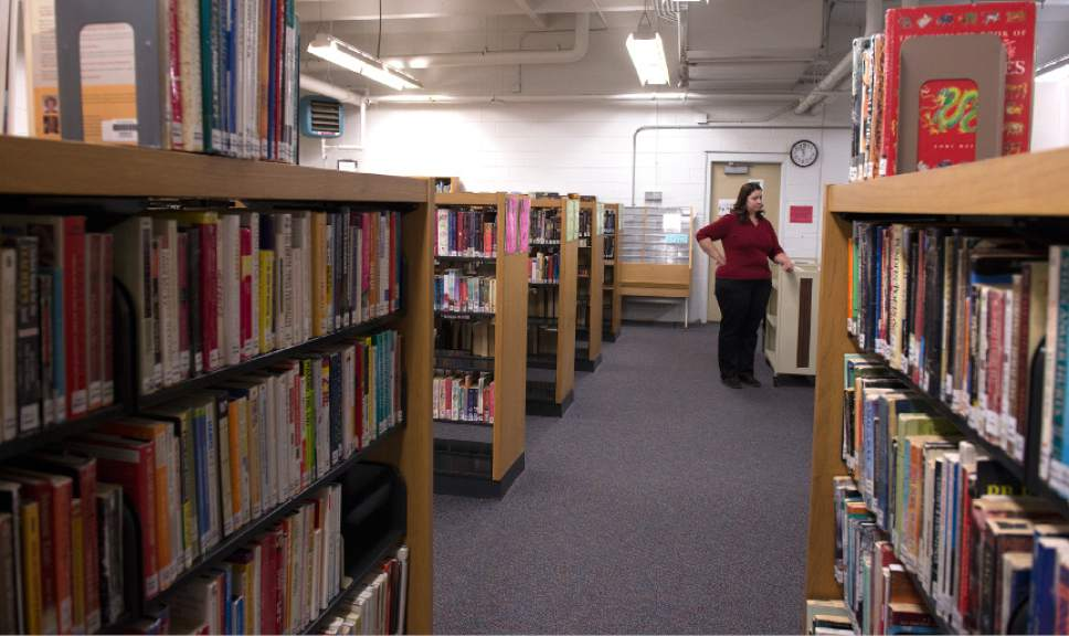 Leah Hogsten  |  The Salt Lake Tribune Utah State Prison librarian, Christie Jensen, has managed the prison's five libraries for over 11 years. Over 80% of women in the prison's Timpanogos facility where she works use the library on a regular basis. Inmates are allowed to check out five books every week.