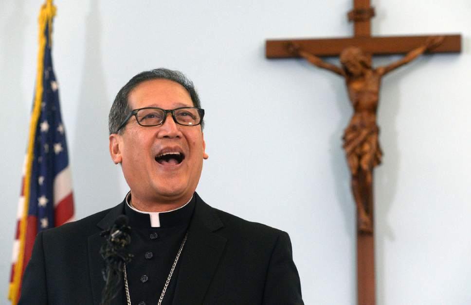 Al Hartmann  |  The Salt Lake Tribune  Bishop elect Oscar Azarcon Solis speaks after being introduced as the 10th Bishop of the Catholic Diocese of Salt Lake City Tuesday Jan. 10.