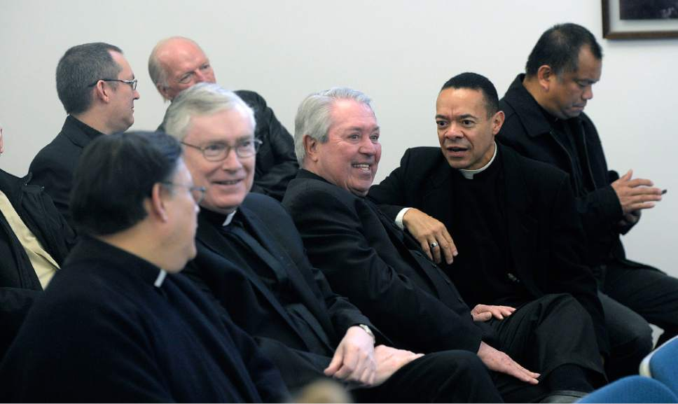 Al Hartmann  |  The Salt Lake Tribune  Catholic Priests and  of the Salt Lake City Catholic Diocese wait to meet Bishop elect Oscar Azarcon Solis Tuesday Jan. 10.