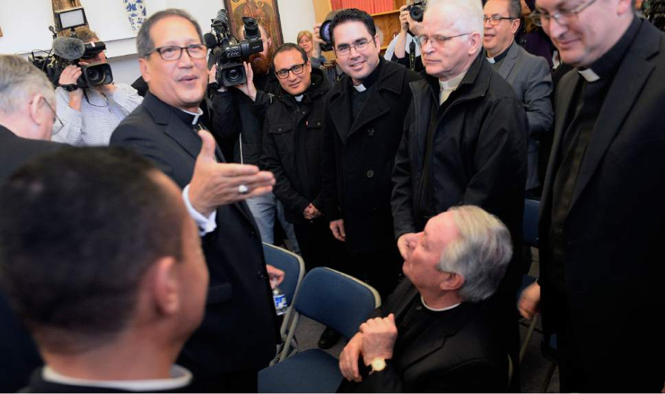 Al Hartmann  |  The Salt Lake Tribune  Bishop Oscar Azarcon Solis, upper left, meets area Catholic Priests Tuesday Jan. 10.  He will become the 10th Bishop of the Catholic Diocese of Salt Lake City.
