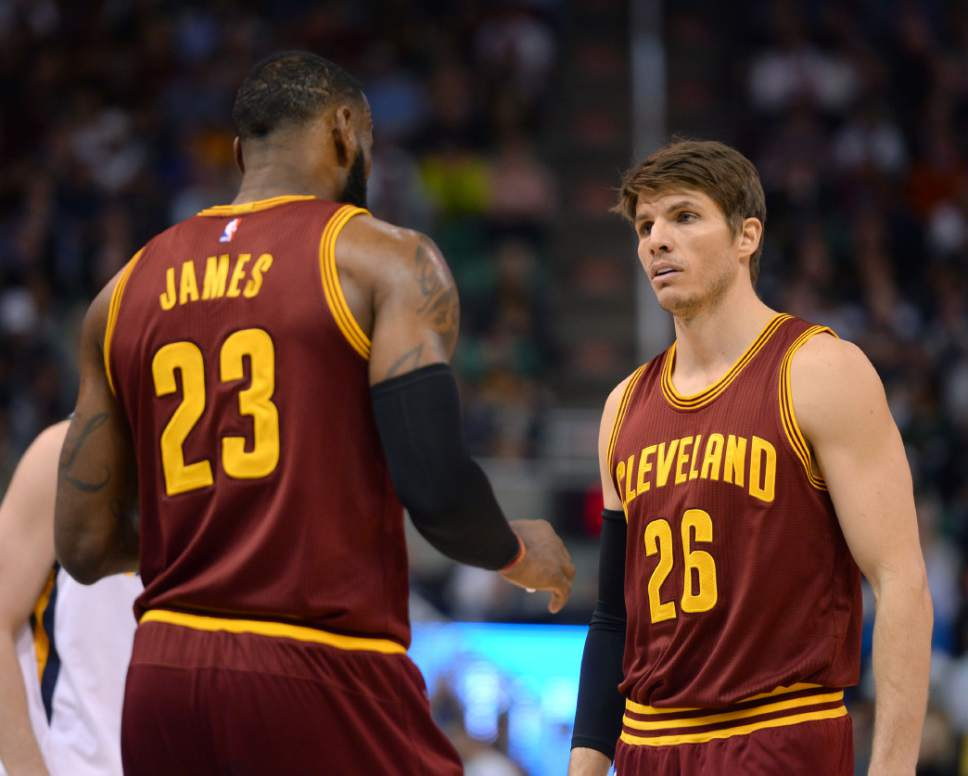 0e1ee3e7e ... Steve Griffin The Salt Lake Tribune Cleveland Cavaliers forward LeBron  James (23) talks Kyle Korver Utah Jazz Home Jersey ...