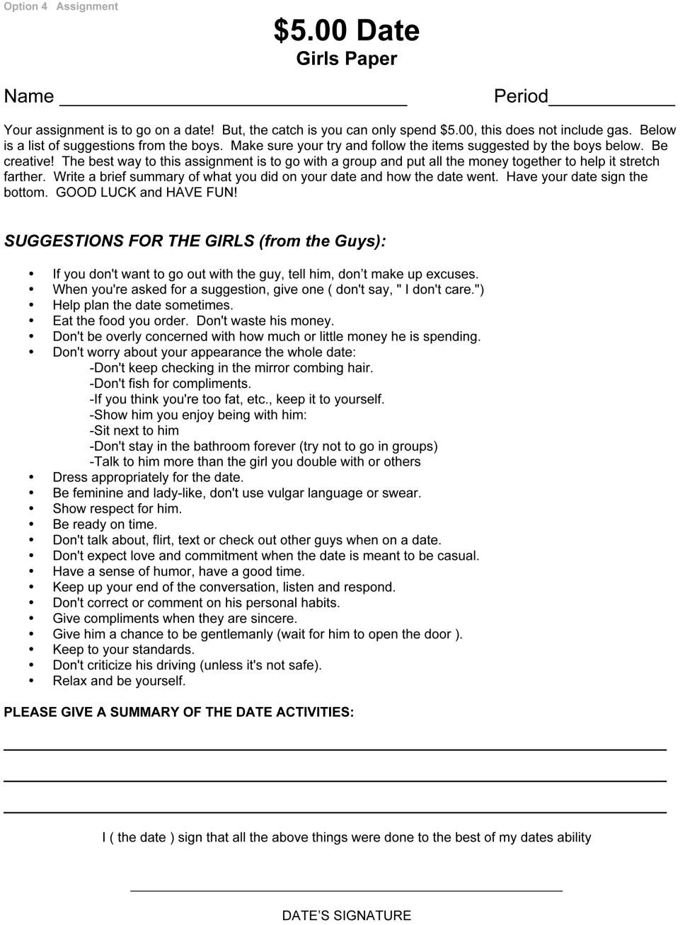 Don't waste his money': Utah high school assignment on dating ...