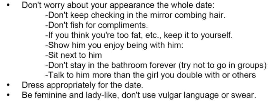 This is from a list of dating suggestions for girls written by male classmates at Highland High School.