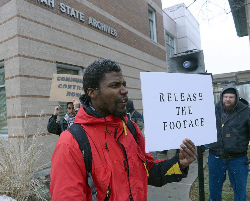 Al Hartmann  |  The Salt Lake Tribune  About a dozen members of Utahns Against Police Brutality hold a protest in front of the Utah State Archives Building in Salt Lake City Thursday Jan. 12 in support of the ACLU and Dissenters For Justice, who are arguing a GRAMA request before the State Records Committee for release of the police shooting video of Abdi Mohamed.