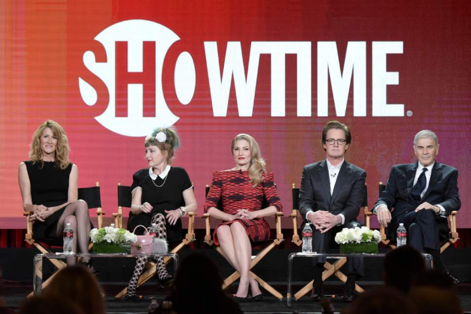 """From left, Laura Dern, Kimmy Robertson, Madchen Amick, Kyle MacLachlan and Robert Forster attend the """"Twin Peaks"""" panel at the Showtime portion of the 2017 Winter Television Critics Association press tour on Monday, Jan. 9, 2017, in Pasadena, Calif. (Photo by Richard Shotwell/Invision/AP)"""