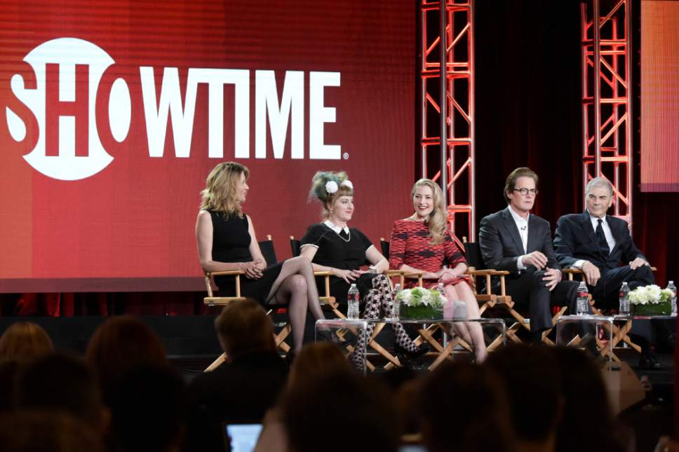 """From left, Laura Dern, Kimmy Robertson, Madchen Amick, Kyle MacLachlan, and Robert Forster attend the """"Twin Peaks"""" panel at the Showtime portion of the 2017 Winter Television Critics Association press tour on Monday, Jan. 9, 2017, in Pasadena, Calif. (Photo by Richard Shotwell/Invision/AP)"""