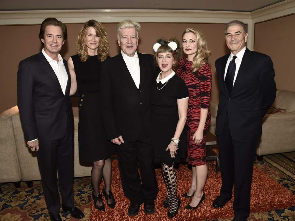 Dan Cohn  |  Showtime  Kyle Maclachlan, Laura Dern, David Lynch, Kimmy Robertson, Madchen Amick and Robert Forster at the TCA winter press tour in Pasadena, Calif.