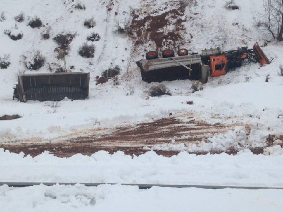 Courtesy  |  UDOT  On Jan. 12, 2017, a semi truck trying to pass a snowplow collided with it and sent it over a 300-foot embankment in Spanish Fork Canyon.