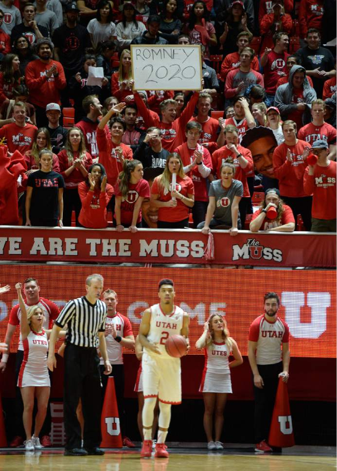 Francisco Kjolseth | The Salt Lake Tribune The Utah Muss expresses their support for Mitt Romney in 2020 as he watches the basketball game against USC during the second half of the NCAA college basketball game at the Huntsman Center in Salt Lake City, Thursday, Jan. 12, 2017.