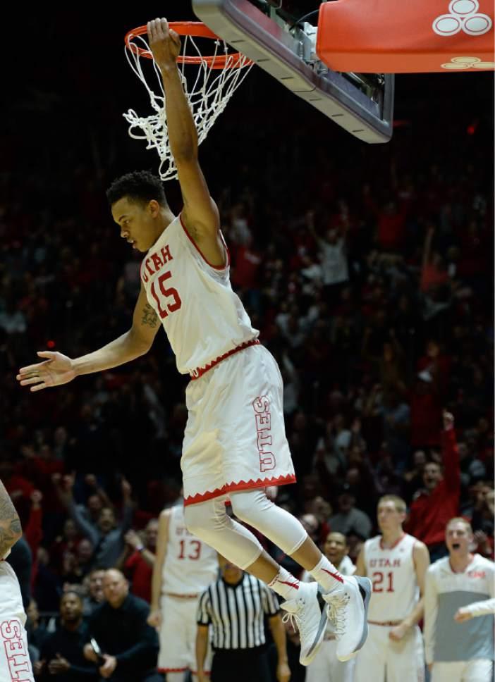 Francisco Kjolseth | The Salt Lake Tribune Utah Utes guard Lorenzo Bonam (15) gets in a dunk against USC during the second half of the NCAA college basketball game at the Huntsman Center in Salt Lake City, Thursday, Jan. 12, 2017.