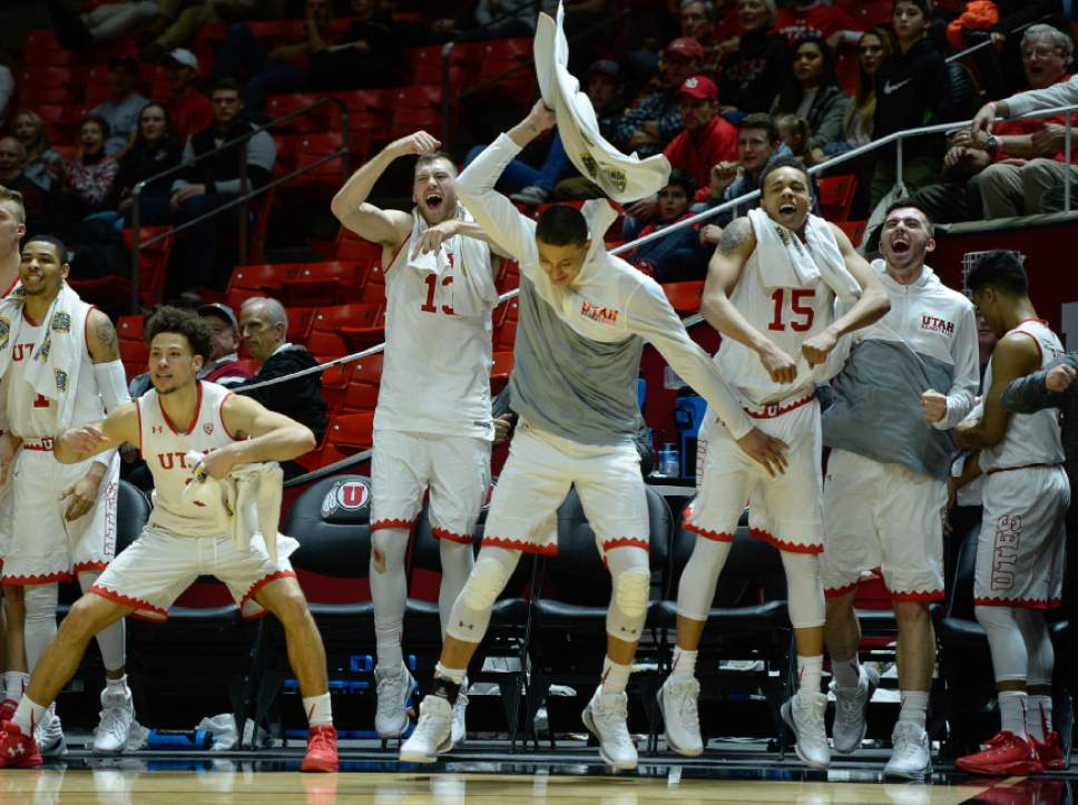Francisco Kjolseth | The Salt Lake Tribune The Utes cheer on their team during the final moments on their way to beating USC 86 to 64 during the second half of the NCAA college basketball game at the Huntsman Center in Salt Lake City, Thursday, Jan. 12, 2017.