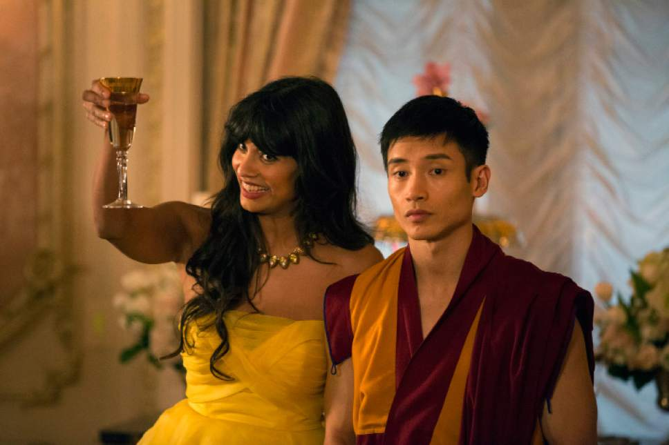 "Jameela Jamil as Tehani and Manny Jacinto as Jianyu/Jason in ""The Good Place."" Justin Lubin  