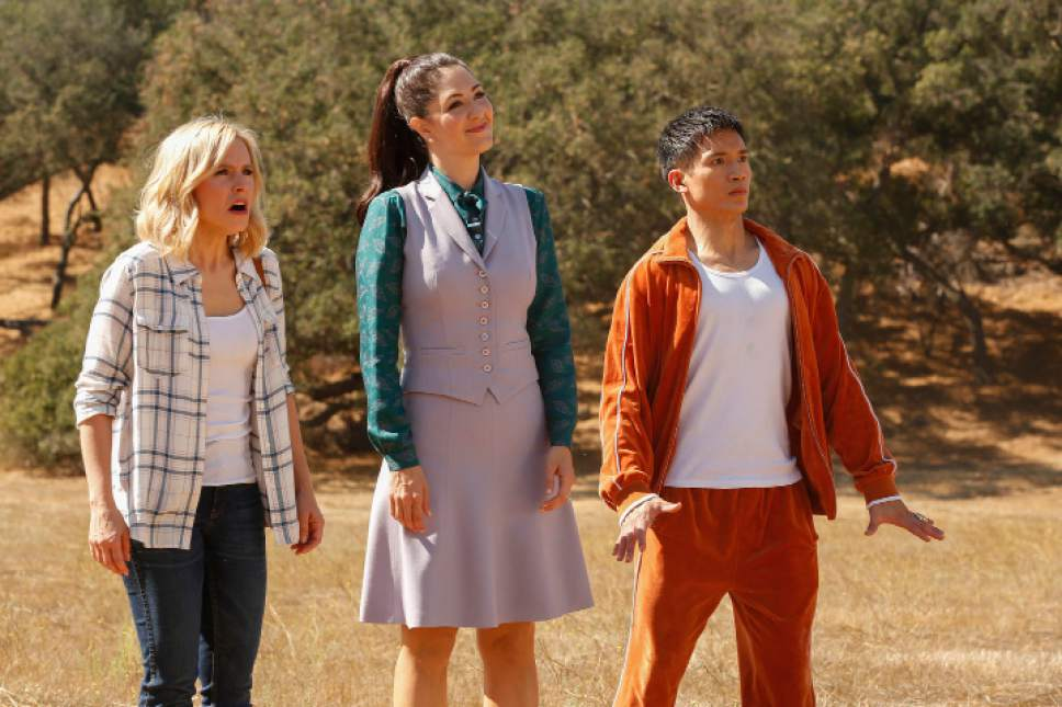 "Kristen Bell as Eleanor Shellstrop, D'Arcy Carden as Janet Della-Denunzio and Manny Jacinto as Jianyu/Jason in ""The Good Place."" Vivian Zink  