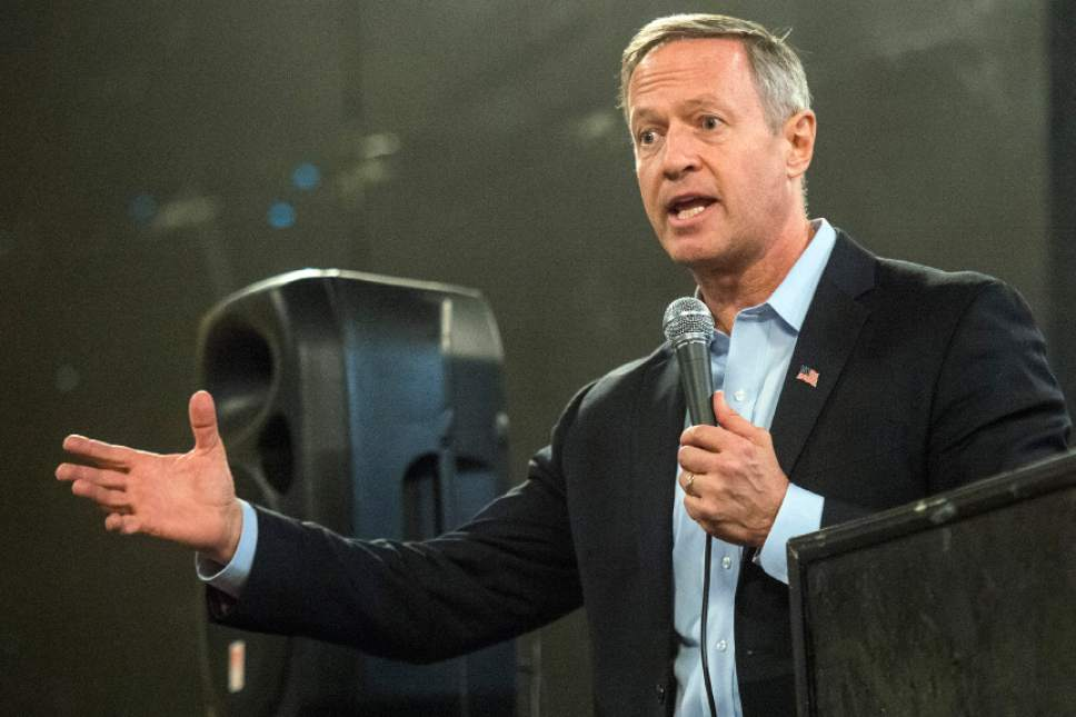 Chris Detrick  |  The Salt Lake Tribune Former Maryland Gov. Martin O'Malley speaks during a Democratic rally on Saturday.