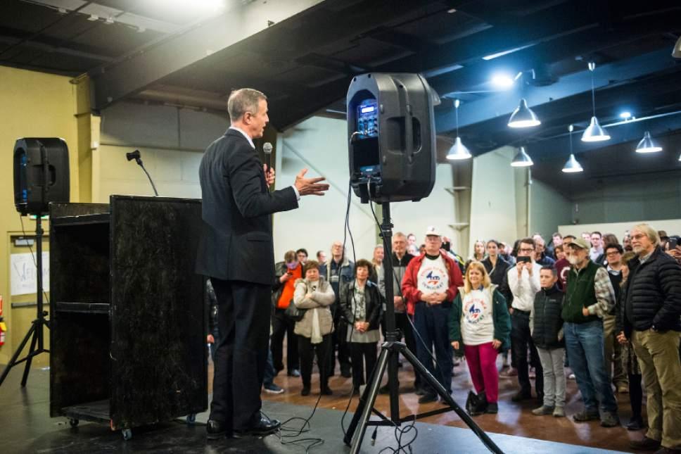 Chris Detrick  |  The Salt Lake Tribune Former Maryland Gov. Martin O'Malley speaks during a Democratic rally Saturday January 14, 2017.