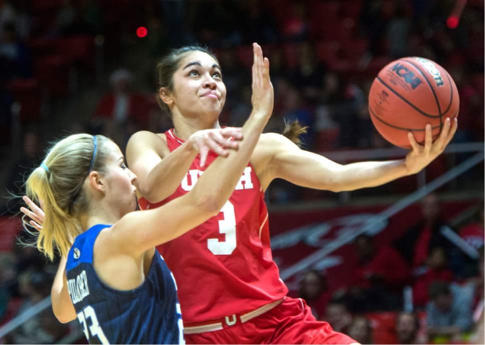 Rick Egan  |  The Salt Lake Tribune  Utah Utes forward Malia Nawahine (3) goes to the hoop, as Brigham Young Cougars guard Makenzi Pulsipher (23) defends, in Basketball action, Brigham Young Cougars vs. the Utah Utes, Saturday, December 10, 2016.
