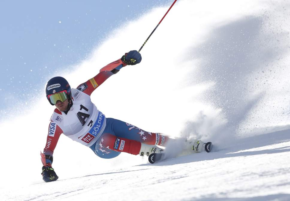 Ted Ligety, of the United States, competes during the first run of an alpine ski, men's World Cup giant slalom, in Soelden, Austria, Sunday, Oct. 23, 2016. (AP Photo/Marco Trovati)
