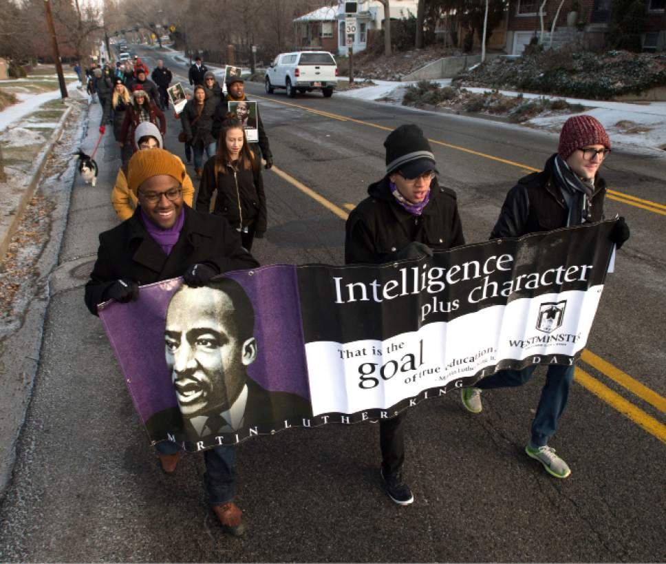 Steve Griffin   The Salt Lake Tribune  Marchers leave Westminster College during a celebration of Martin Luther King Jr. Day in Salt Lake City Monday, Jan. 16, 2017. The morning event included a rally and march through Sugar House as part of the school's week-long celebration.