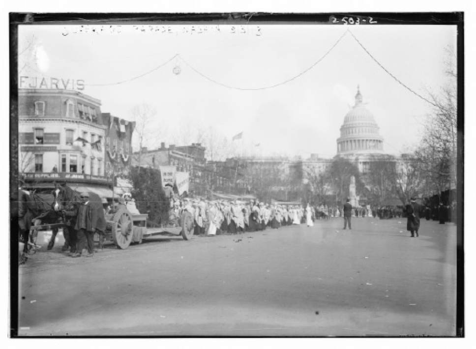 In this photo provided by the Library of Congress, taken in 19193, women suffragists marching on Pennsylvania Avenue in Washington, led by Mrs. Richard Coke Burleson, center on horseback, with the Capitol in background. Thousands of women take to the streets of Washington, demanding a greater voice for women in American political life as a new president takes power. This will happen on Saturday, Jan. 21, 2017, one day after the inauguration of Donald Trump. This DID happen more than 100 years ago, one day before the inauguration of Woodrow Wilson. (Library of Congress via AP)