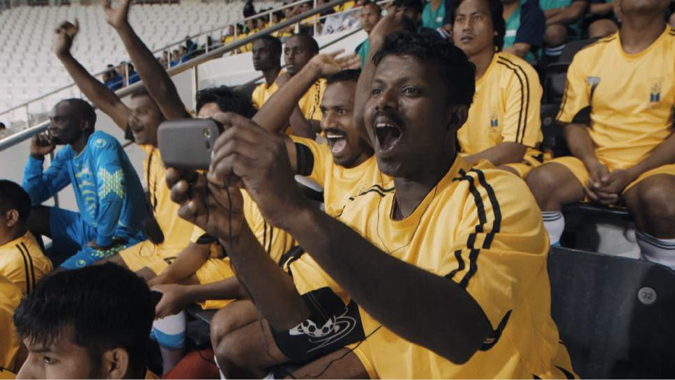 """Umesh at Al Sadd stadium in Doha, Qatar in a scene from """"The Workers Cup,"""" directed by Adam Sobel. Courtesy  
