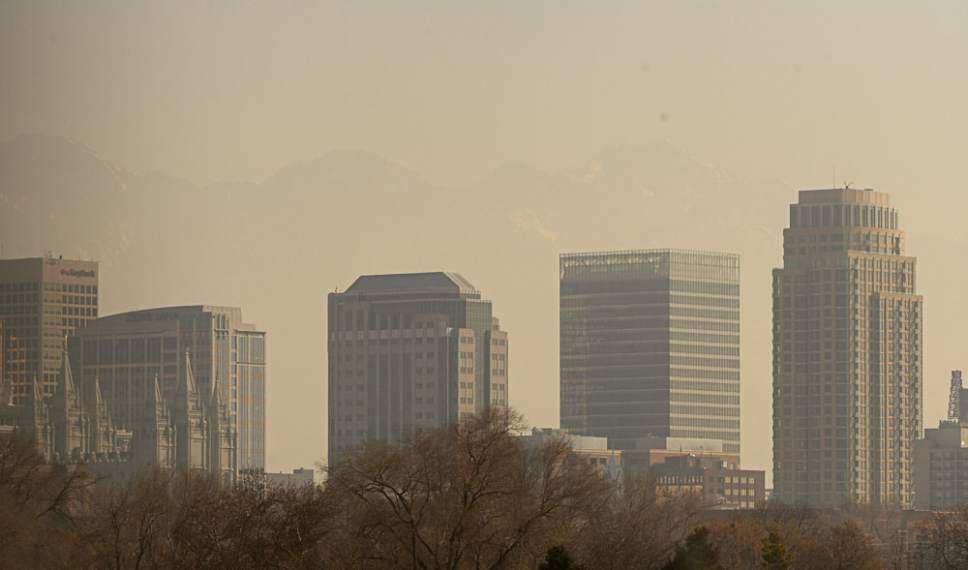 Francisco Kjolseth | The Salt Lake Tribune Pollution obscures the skyline as it continues to settle into the Salt Lake valley on Tuesday, Jan. 17, 2017.