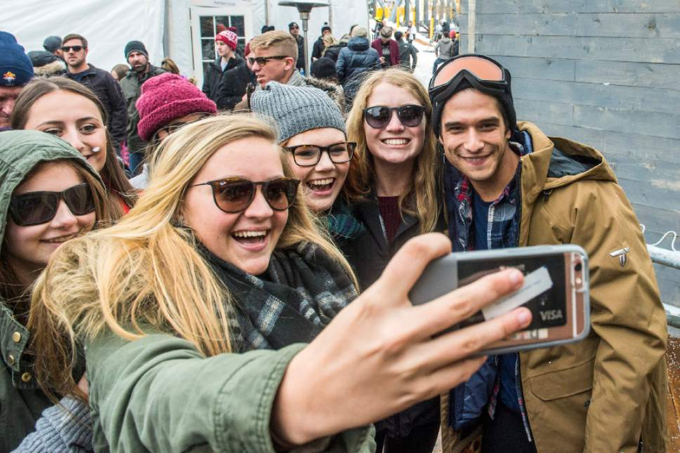 Chris Detrick  |  The Salt Lake Tribune Fans take pictures with Tyler Posey during the Sundance Film Festival in Park City on Saturday, Jan.  23, 2016.