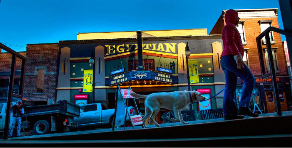 Steve Griffin  |  The Salt Lake Tribune  The facade of the Egyptian Theatre glows as the setting sun catches the building as Sundance sets to kickoff in Park City, Utah Wednesday, January 21, 2015.