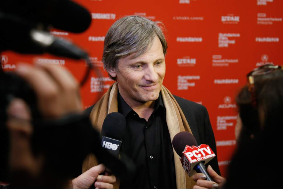 """Actor Viggo Mortensen is interviewed at the premiere of """"Captain Fantastic"""" during the 2016 Sundance Film Festival on Saturday, Jan. 23, 2016, in Park City, Utah. (Photo by Danny Moloshok/Invision/AP)"""