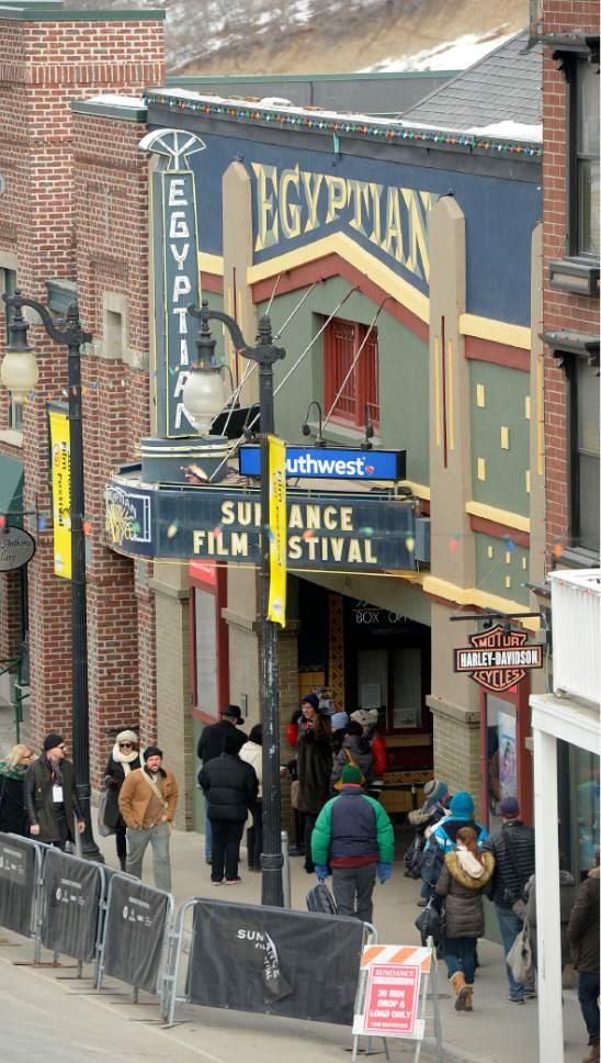 Al Hartmann  |  The Salt Lake Tribune Crowds file past the Egyptian Theater, the heart of the Sundance Film Festival Friday Jan. 23.