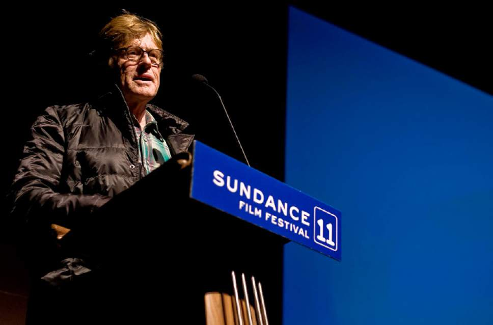 Tribune file photo  Robert Redford, founder of the Sundance Film Festival, talks to the audience at Eccles Theater in Park City, to kick off to kick off the festival, Thursday, Jan. 20, 2011.