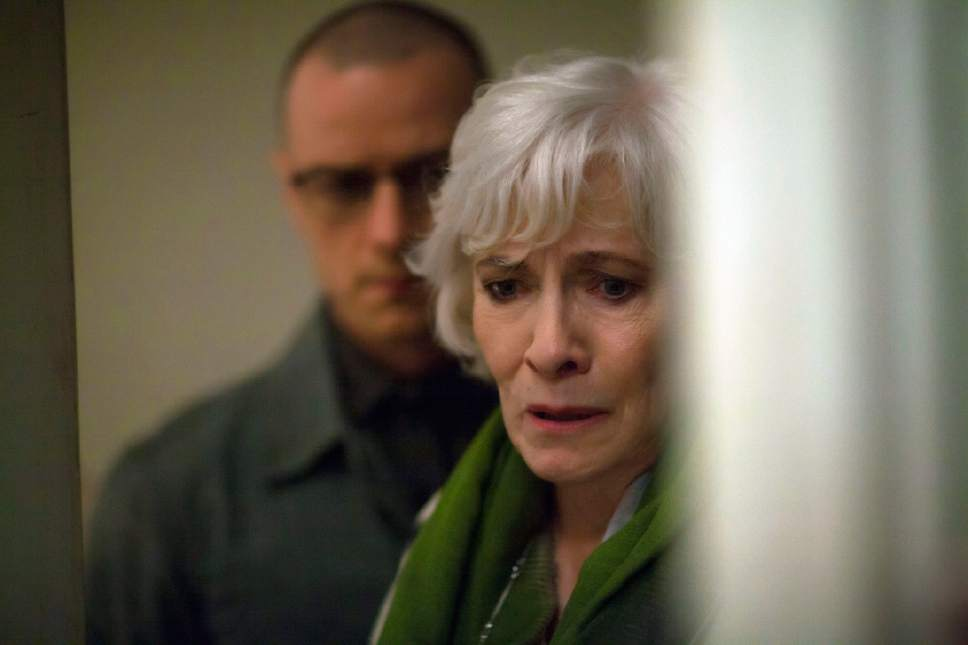 """This image released by Universal Pictures shows James McAvoy, left, and Betty Buckley in a scene from, """"Split."""" (Linda Kallerus/Universal Pictures via AP)"""