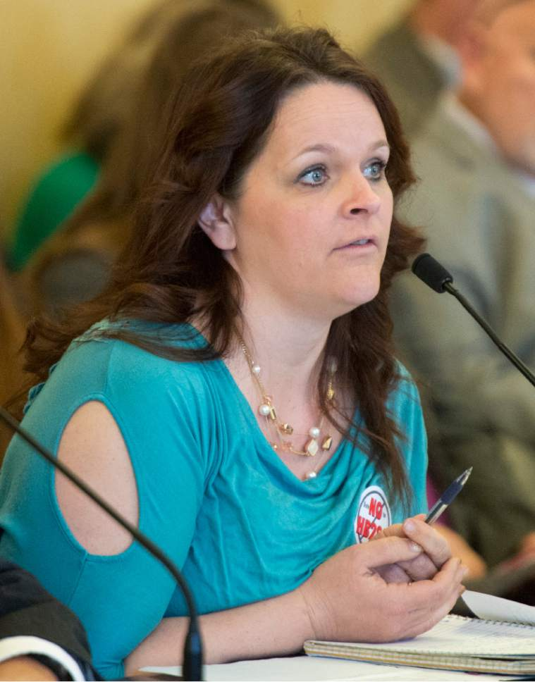 Rick Egan  |  The Salt Lake Tribune  Polygamist, Heidi Foster, speaks before the House Law Enforcement and Criminal Justice Committee against HB281, which makes changes to Utah's bigamy statute. Friday, February 19, 2016.