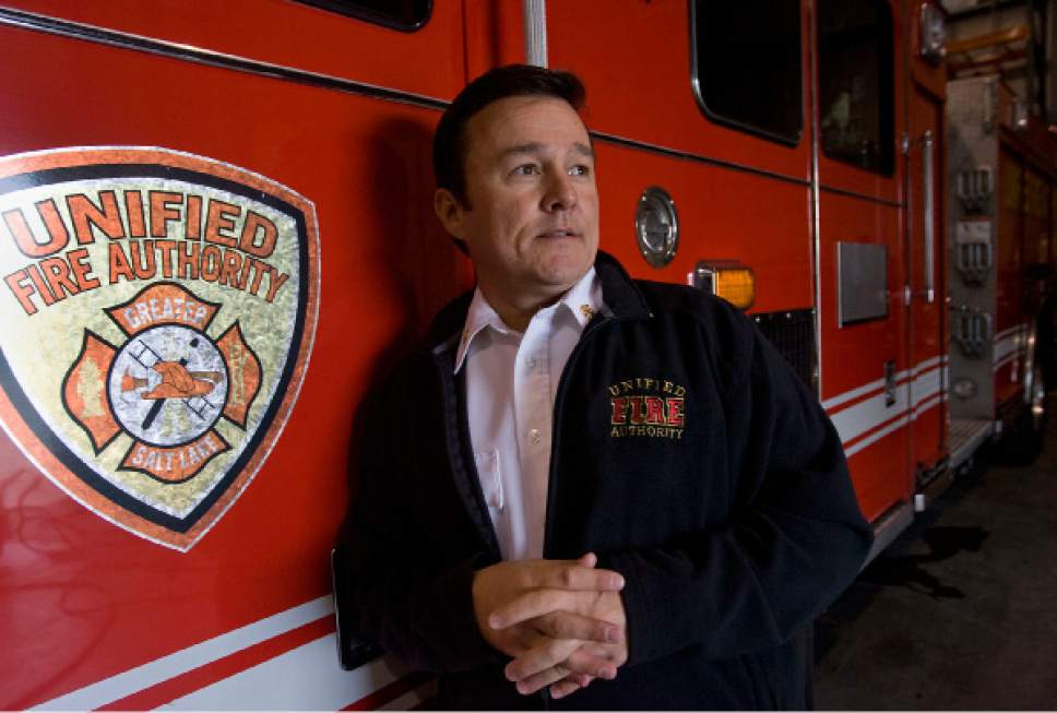 Al Hartmann  |  Tribune file photo  Former Unified Fire Authority Chief Michael Jensen show in October 2010. A recent audit recommends a criminal investigation related to his spending during his time leading UFA.
