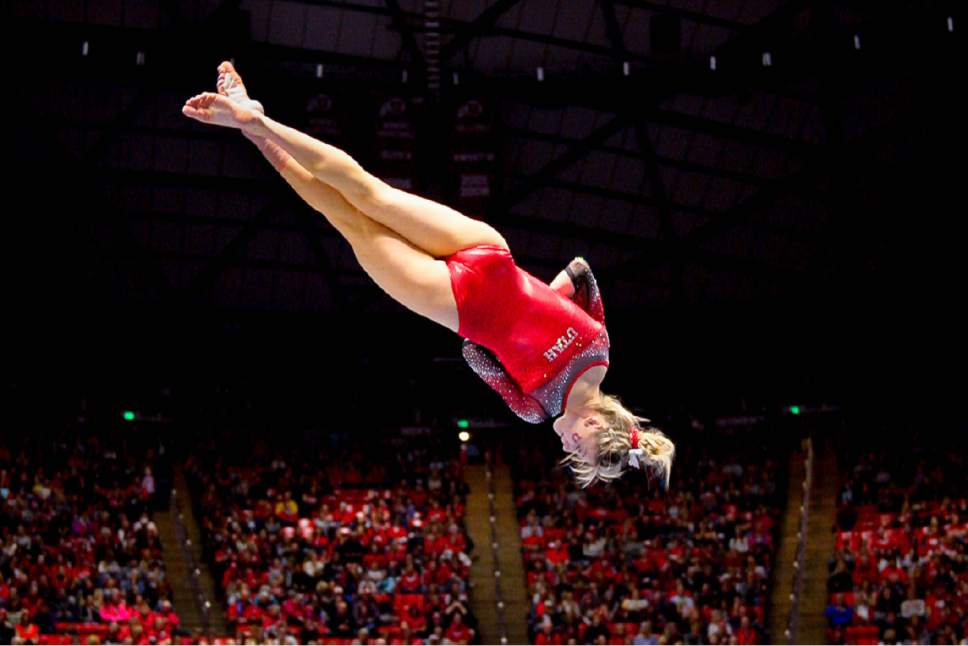 Trent Nelson  |  The Salt Lake Tribune Sabrina Schwab performs her floor routine as the University of Utah hosts Michigan, NCAA gymnastics at the Huntsman Center in Salt Lake City, Saturday January 7, 2017.