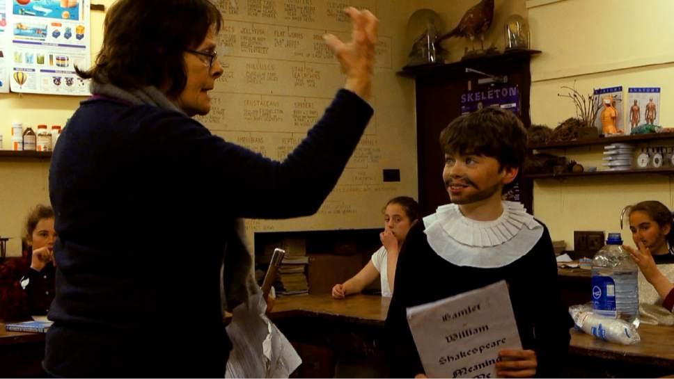 "Headfort School teacher Amanda Leyden rehearses  ìHamletî with a student in a scene  from ""In Loco Parentis,"" directed by Naesa NÌ Chian·in. Courtesy     Soilsi˙ Films"